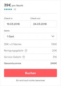 Airbnb Buchungsformular