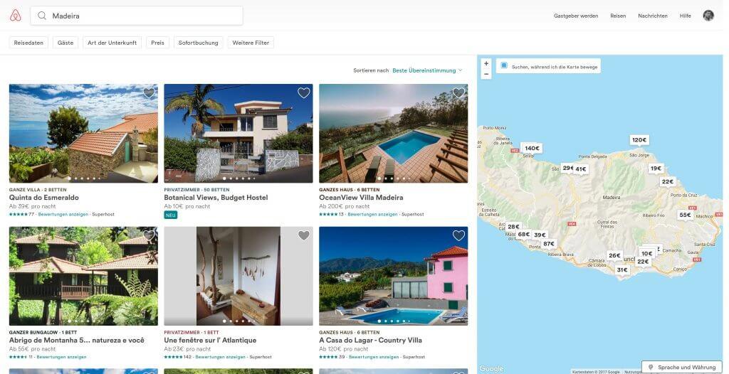Airbnb Suche mit Karte