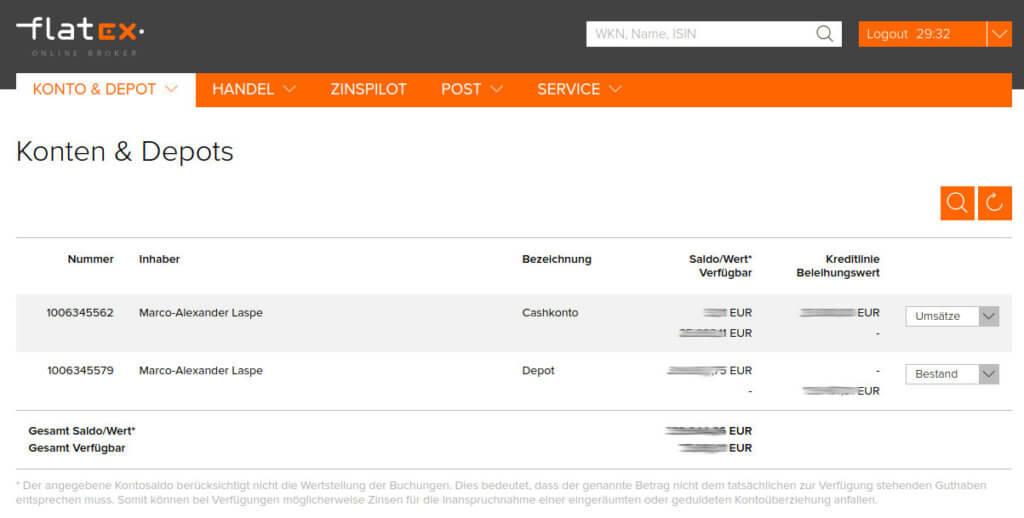 Konto & Depot Übersicht direkt nach dem Login bei flatex