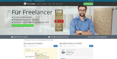 Freelancermap-Startseite Screenshot