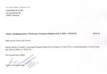 Die ElitePartner-Kündigung im Wortlaut.