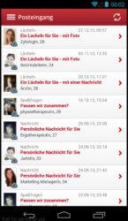 Die Inbox der mobilen App von Parship