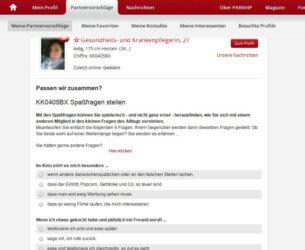 Parship-Funktion zur Kontaktaufnahme: Spaßfragen