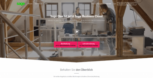 Sage Business Cloud Startseite