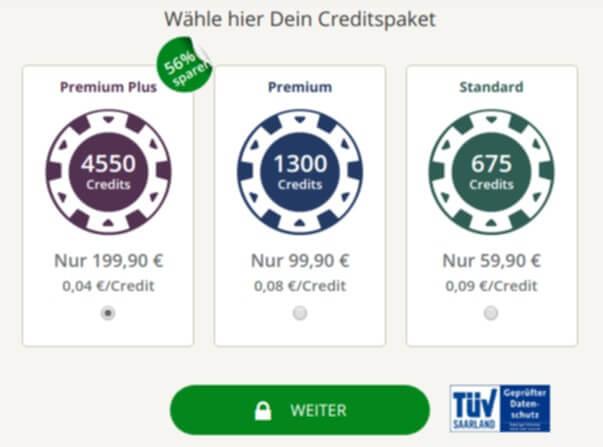Secret.de bietet unterschiedliche Pakete zur Auswahl an.