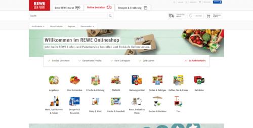 Startseite des Rewe-Online-Shops