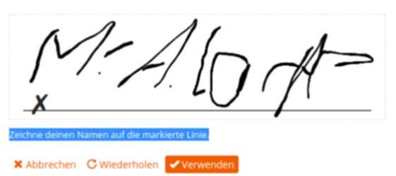 Unterschrift mit der Maus